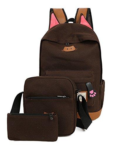 [Moolecole New Cat Ear Canvas School Backpack Shoulder Bag 3pcs Set,Coffee] (Brown Cat Ears)