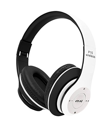 Wish House Bluetooth Headphones On Ear, 40mm Driver Wireless Headset Foldable with Mic, Wired and Wireless Headphones for Cell Phone (White)