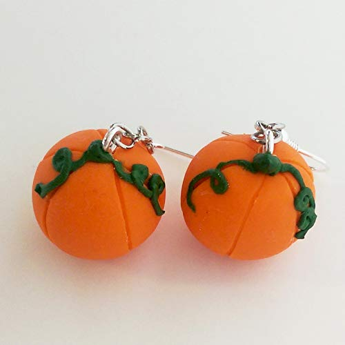 (Pumpkin Earrings Faux Food Jewelry Halloween Fall Costume)