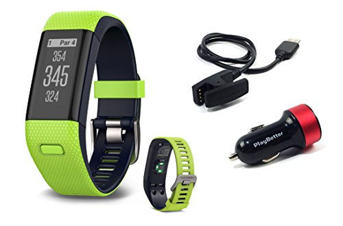Garmin Approach X40 (Lime) Golf GPS & Fitness Band BUNDLE with PlayBetter USB Car Charge Adapter by Garmin