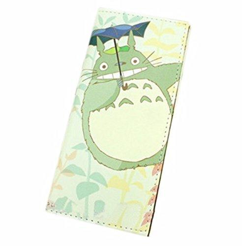 new Cuero Piel Cartera Multi-bolsillos Cartera hombre Purse Verde Gato Totoro rare