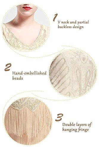 BABEYOND Women's Flapper Dresses 1920s V Neck Beaded Fringed Great Gatsby Dress (Small, Beige)