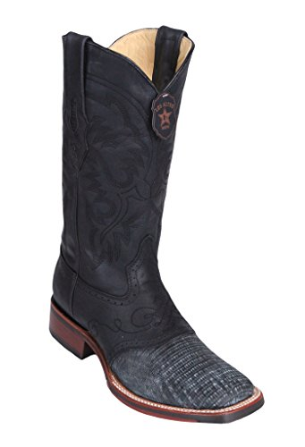 Men's Wide Square Toe w/Saddle Sanded Black Genuine Leather Lizard Teju Skin Western Boots ()