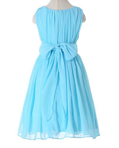 Bow Dream Little Girls Elegant Ruffle Chiffon Summer Flowers Girls Dresses Light Blue 6