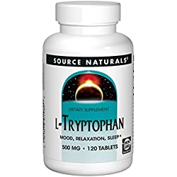 Source Naturals L-Tryptophan, 1500 mg Serving, Essential Amino Acid Supplement Helps Combat Stress, Encourage Positive Mood & Relaxation and Promotes Drowsiness, Rest and Sleep - 120 Tablets