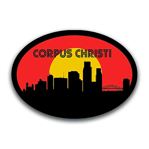 Corpus Christi Texas Skyline Vinyl Decal Sticker | Cars Trucks Vans SUVs Windows Walls Cups Laptops | Full Color Printed | 5.5 Inch | ()