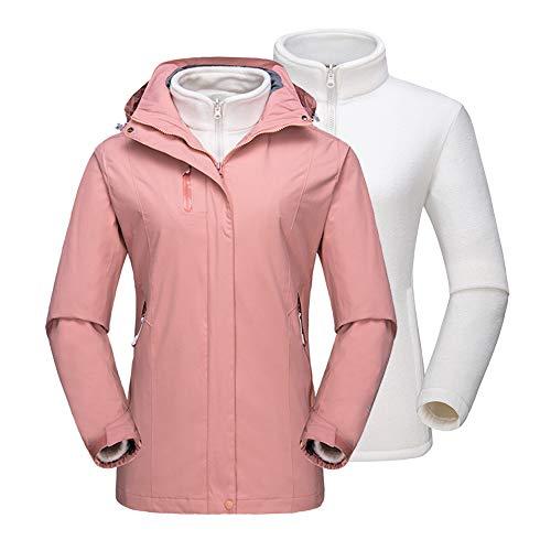 (NOVMAY Women's Mountain Ski Jacket 3-in-1 Inner Fleeces Coat Outdoor Winter Rain Jacket Waterproof Windproof Hooded (Baby Pink, US XL=Tag)
