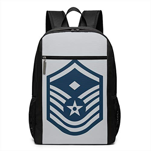 Air Force Master Sergeant 1st SGT Diamond Rank 17 Inch School Bags Backpack College Book Bags Laptop Backpack With Large Compartment Backpack For Men Women Teens