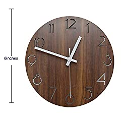 jomparis Rustic Country Tuscan Style Wooden Clock Powered by Battery Operated Small Decorate Wall Clock(Brown,6 Inches)