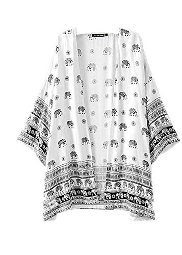 ALLYOUNG Women's Elephant Printed Half Sleeve Kimono Cardigan Coat Tops Blouse Comfortable Cover up White