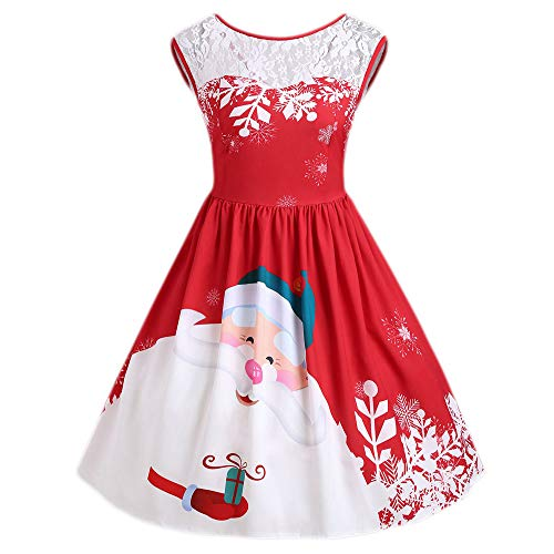 (FEDULK Women's Dress Merry Christmas Santa Claus Print Lace Vintage Flared Dress(Red , US Size L = Tag)