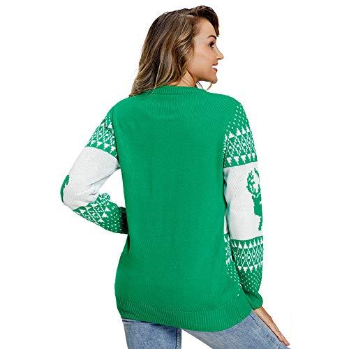 La Suéter Navidad Del Casual s Copo Puentes 02 Manga Reno Fea De Mujeres 05 Las Larga Nieve Sudadera r78xfqrn