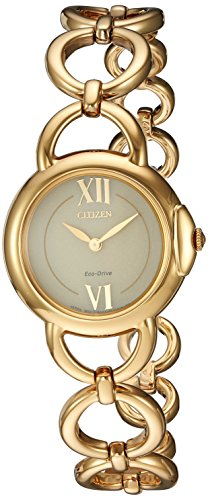 Citizen Women's 'Eco-Drive Jolie' Quartz and Stainless-Steel Dress Watch, Color:Gold-Toned (Model: EX1452-53P)