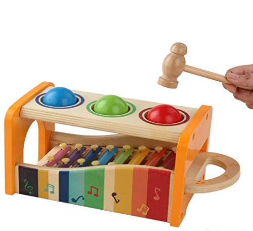 ANGLE Three Balls Knocking Table - Infant Children Small Xylophone Baby Boys and Girls Wooden Music Impact Toys 1-3 Educational Toys, Multifunctional and Bright ()