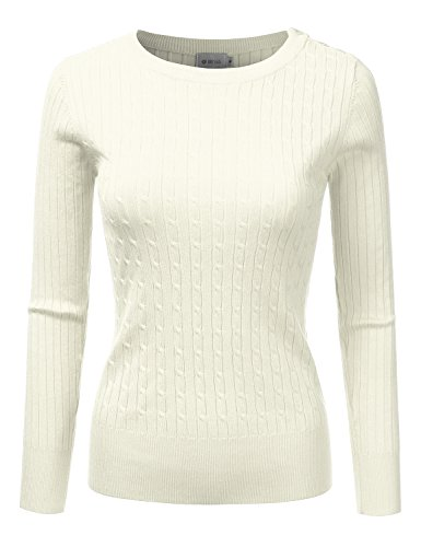 DRESSIS Womens Ribbed Round Neck Button Shoulder Cable Knit Sweater IVORY M