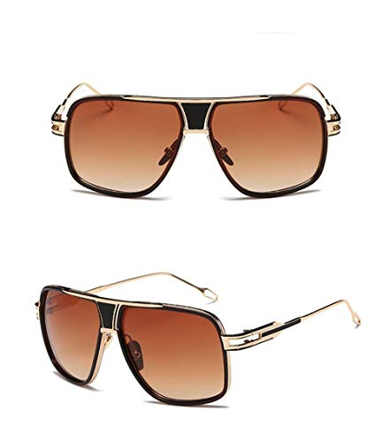 con Metal Sol Gafas de Mujer Gafas Gafas Hombre para Súper de A Vintage de Espejo Lente Fliegend Polarizadas Estuche de Sol Retro UV400 Sol Brown Unisex Gafas Ligero Montura ZAxUFw