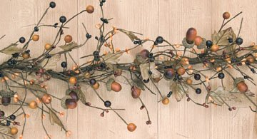 Acorn Garland (Country Mix Acorn Garland Fall Colors Leaves Berries Pips Primitive Floral Décor)