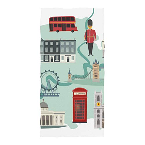 (Microfiber Beach Towel London Streets Colorful Big Ben Tower Large Beach Blanket Towel Lightweight Towel For Travel Pool Swimming Bath Camping Yoga Gym Sports Women Adults Oversized 37 X 74 Inch)