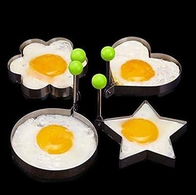 Keraiz Molde para freír huevos, 4 unidades, anilla para tortitas o ...