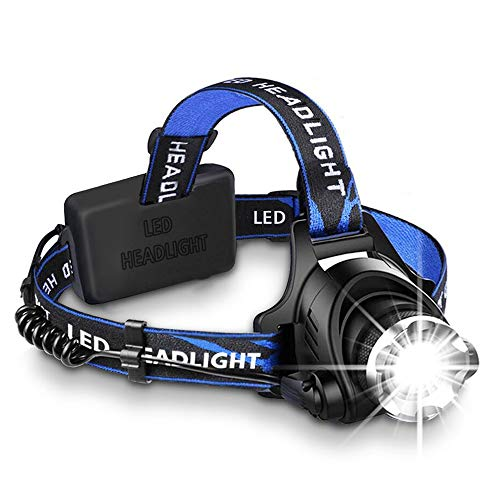 Zoom LED Headlamp, HeQiao 5000 Lumen Camping Headlight Anti-Sweat LED Work Light W/Rechargeable Battery, Car Charger, Wall Charger for Outdoors Sports (3-Mode, Light-weight) (Bright Blue)