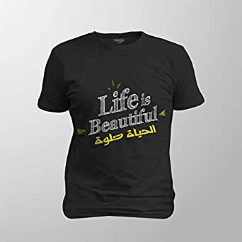 Antika Men T-Shirt Beautiful Life, Black, XXL
