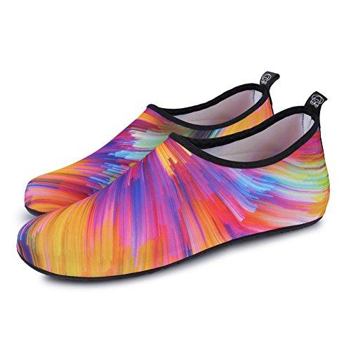 JIASUQI Damen und Herren Sommer Outdoor Wasserschuhe Aqua Socken für Beach Swim Surf Yoga Übung Orange / Bunt