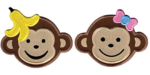 PatchMommy Set of 2 Large Iron On Patches, Boy Monkey and Girl Monkey - Kids Baby - Iron On Patches Monkey