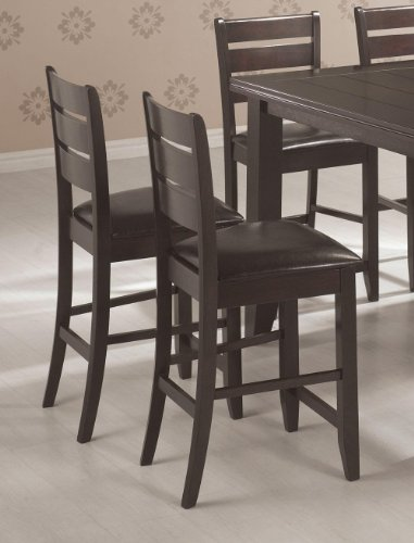 Page Cappuccino Counter - Page Contemporary Counter Height Stool with Slat Back and Padded Seat