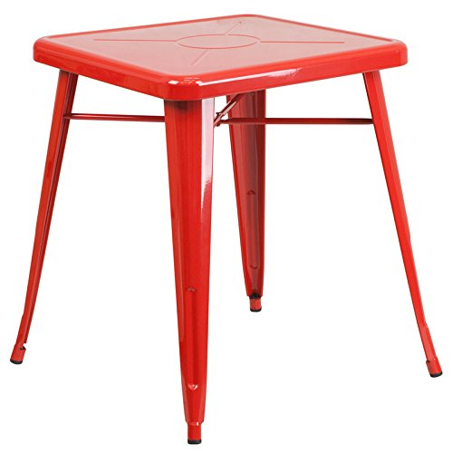 Zuffa Home Furniture Red Square Metal Table by zuffahome