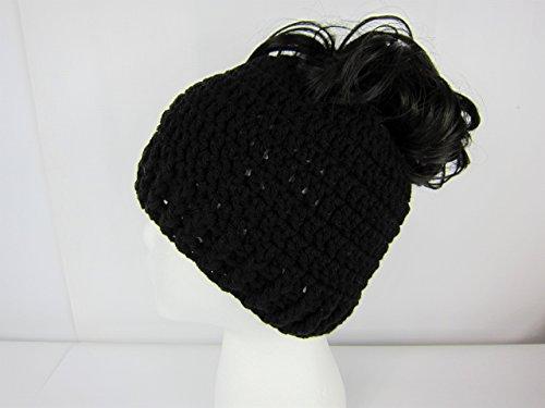 Handmade Messy Bun Hat Black Beanie Pony Tail Hat Women teen Junior Girls