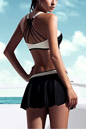 e135ab0677 Amazon.com: AdoreShe Two Pieces High Waisted Bikini Set Womens Dress  Swimsuits High Neck Bikini Top Ruffle Skirt Bottom Sold Seperately(Top,A18017,:  Home & ...