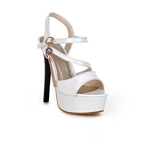 Adee Ladies Western High-Heels Polyurethane Sandals White