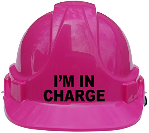 I'm in Charge Children, Kids Hard Hat Safety Helmet with Chin Strap One Size Adjustable Suitable for 4-12 Years -Pink Acce Products