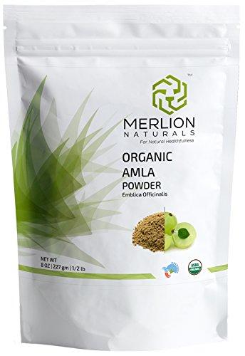 Organic Amla Powder by Merlion Naturals (Indian Gooseberry/ Emblica Officinalis) - USDA NOP Certified 100% Organic (8 OZ)