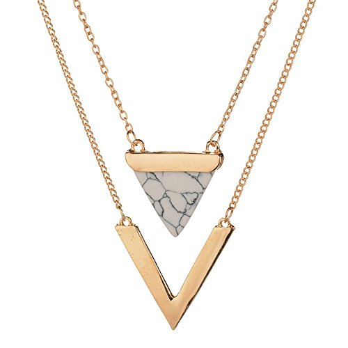 Triangle Multilayer Necklace Stone Pendants Marble V Shape Choker Collarbone Collar Chain Charms Jewelry White -