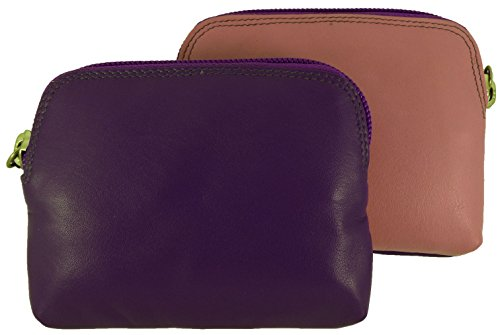 Pink Credit Multi Purse Coin Card Holder Small Leather 3 Picture Soft Zip Purple and aqnRpU7
