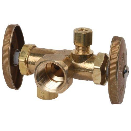 Brass Craft R1700DV R 1/2-Inch FIP by 3/8-Inch O.D. Comp by 1/4-Inch O.D. Comp Brass Craft R1700DV R Dual Outlet Stop, Rough Brass