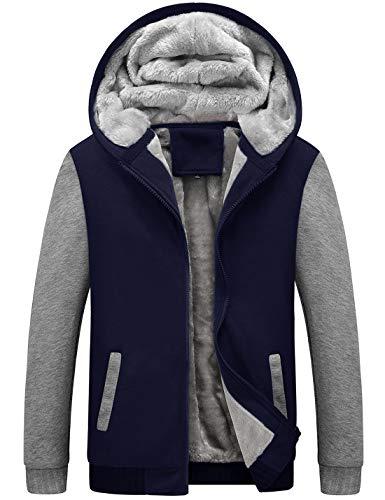 Yeokou Men's Winter Thicken Fleece Sherpa Lined Zipper Hoodie Sweatshirt Jacket (X-Large, Z Blue Grey) -