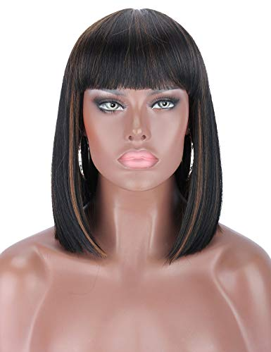 Kalyss Short Bob Wigs with Hair Bangs Black Wigs with Brown Highlights Heat Resistant Yaki Synthetic Straight Full Head Hair Wig for Women Natural Looking for Daily Wear