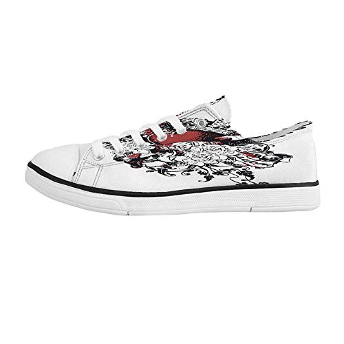 Modern Comfortable Low Top Canvas Shoes,Tattoo Style Heart Crown with Wings Artictic Love Valentines Gothic Romance Graphic for Men Boys,US 9 ()