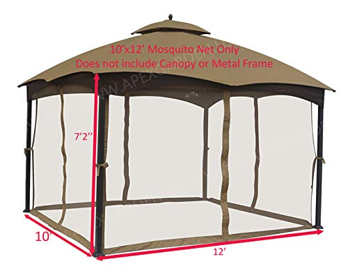 APEX GARDEN Universal 10' x 12' Gazebo Replacement Mosquito Netting (Insect Net Only)