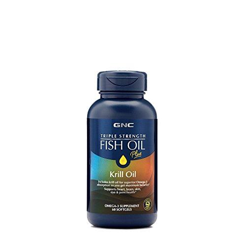 GNC Triple Strength Fish Oil Plus Krill Oil, 60 Softgels, for Join, Skin, Eye, and Heart ()