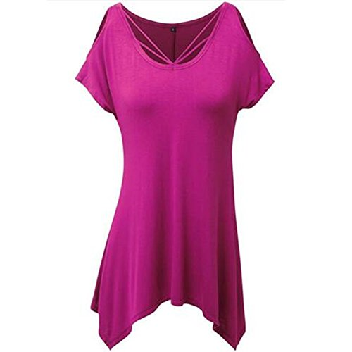Hors T Rose Rouge Courte Chemise paule Newbestyle Rond Col Femme Manche shirt t 1IBYpqw