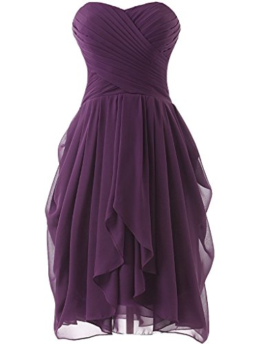 Women Sleeveless Sweetheart Short Chiffon Bridesmaid Cocktail Dress Plum US16W