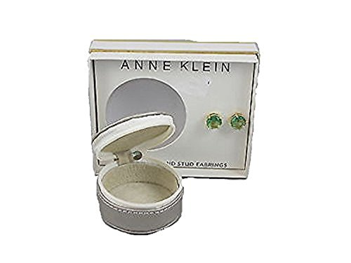 Anne Klein Goldtone Green Set Stone Stud Earrings Travel Jewelry Case Gift Set ()