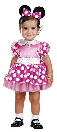 Disguise Girls Minnie Mouse Pink Kids Child Fancy Dress Party Halloween Costume, 12-18M -