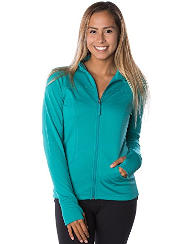 Global Women's Slim Fit Lightweight Full Zip Yoga Workout Jacket L Lapis (Cycling Womens Zip Hoodie)