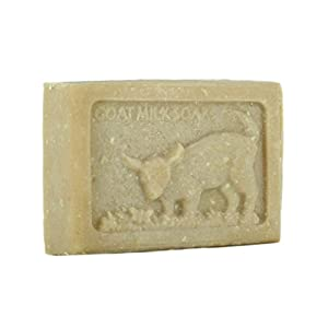 Goat Milk Soap Handmade USA Natural Bar Vitamins Nutrients for Soft Skin, Wrinkles, Psoriasis, Eczema (1 Bar & Soap Dish, Oatmeal Milk & Honey )