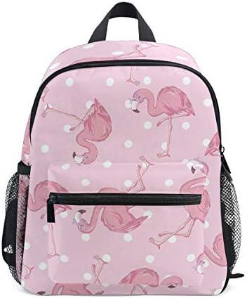 漫画ピンクフラミンゴ幼児バックパックブックバッグミニショルダーバッグ1-6年旅行男の子女の子子供用チェストストラップホイッスル
