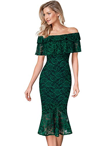 VFSHOW Womens Layered Ruffle Off Shoulder Green Lace Cocktail Party Bodycon Mermaid Midi Dress 2526 GRN S